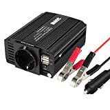 Wetoph Auto Wechselrichter Interver Spannungswandler DC 12V bis 110V AC Autokonverter 2X Wechselstromanschlüssen & 2X 2.1A USB Anschlüssen 300W