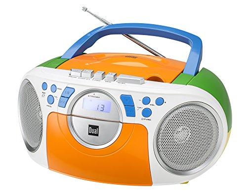 Kassettenradio mit CD  UKW-Radio  Boombox  CD-Player  Stereo Lautsprecher  AUX-Eingang  Netz- / Batteriebetrieb  Tragbar  Bunt  Dual P 70