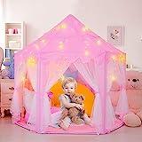 RenFox Castle Kinder Spielzelt, Mädchen Hexagon Prinzessin Schloss Haus Palast Zelte Kinder Spielhaus mit Sternenlicht, Spielzelt Tipi Zelt für Kinder (LED Farbe Lichterketten als Geschenke, Pink)