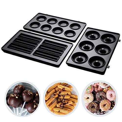 Russell Hobbs 3er Zusatzplatten-Sets Fiesta (Cake Pop, Mini Donut und Churros) für Multifunktionsgerät, spülmaschinengeeignete & antihaftbeschichtete Platten, 25490-56