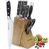 Emojoy Messerblock 8-teilig, Extra Scharf Messerblock Set, Edelstahl Kochmesser mit Holzblock, 6-teilig Messerset mit Messerschärfer und Haushaltsschere