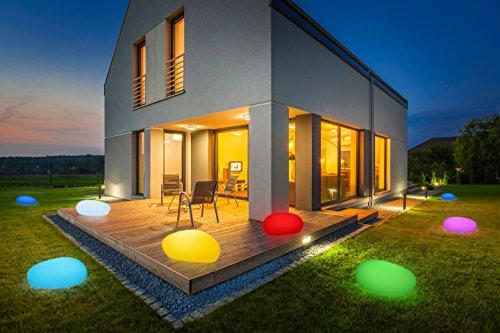 Bonetti LED Solar Gartenleuchte Stein / 8 Farben / optionaler Farbwechsel / 40 cm / IP67 / RGB / Solarlampe / Dekoleuchte / Außenleuchte / Gartenlampe / Dekostein / Leuchtstein / Stone