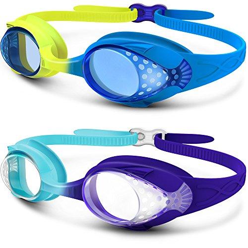 Kinder Schwimmbrille, OutdoorMaster lustige Fisch-Stil Schwimmbrille für Kinder (4-12 Jahre), lecksicher Schwimmbrille für Jungen Mädchen, Anti-Fog & UV Schutz & Schnell zu verstellen (1/2er Pack) (2 Pack Blau/Gelb + Dunklblau/Hellblau)