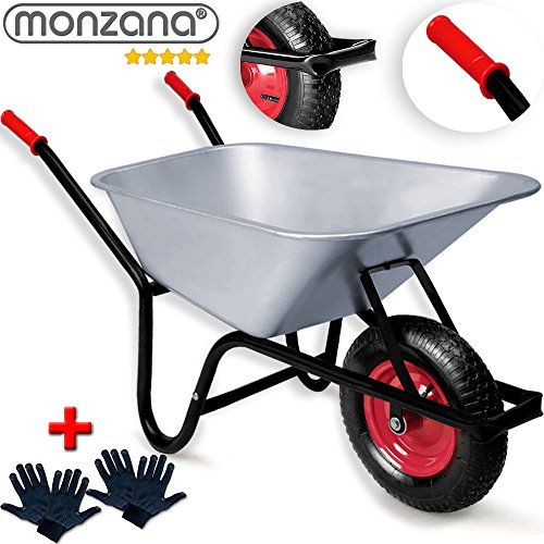 Monzana Schubkarre 100 Liter  Bauschubkarre Gartenschubkarre  bis 250kg Belastbarkeit  Luftreifen mit Stahlfelge  verzinkt  +2 Paar Arbeitshandschuhe  stabile Ausführung mit Aufliegewanne