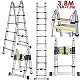 3.8 M Teleskopleiter Auszeihleiter aus Hochwertigem Aluminium Leiter Aluleiter Mehrzweckleiter Teleskop Design bis 150 Kg Belastbar (3.8 M 1.9+1.9)