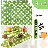 beedchi Bio Bienenwachstücher 3er Set | Inkl. Reparaturwachs | Wachstücher für Lebensmittel | Wiederverwendbare Wachstuch Frischhaltefolie | Beeswax wrap | Zero Waste