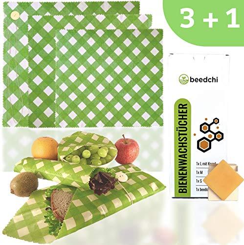 beedchi Bio Bienenwachstücher 3er Set   Inkl. Reparaturwachs   Wachstücher für Lebensmittel   Wiederverwendbare Wachstuch Frischhaltefolie   Beeswax wrap   Zero Waste