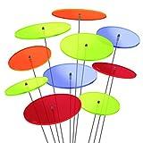 SUNPLAY 'Sonnenfänger-Scheiben' im FARBMIX, 10 Stück im Set, 5 Stück à 7 cm und 5 Stück à 10 cm Durchmesser + 35 cm Schwingstäbe