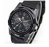 Mode Sport Stil Militaer- Armee Pilot Stoff Band Mann Armbanduhr Uhr Outdoor Nylon Armband Schwarz