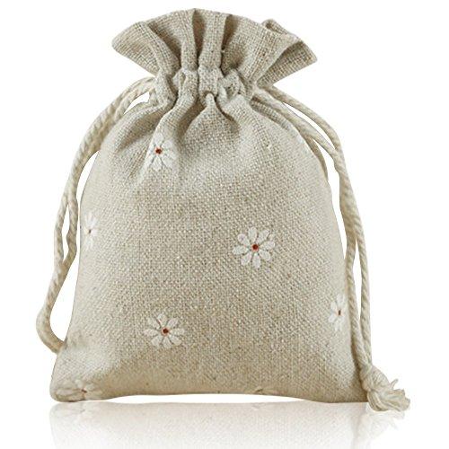 G2PLUS Natur Jutesäckchen 20 Stück Baumwollbeutel 9 CM *12 CM Leinen-Säckchen Perfekt für Lavendelblüten, Schmuck (Weiße Blume)