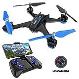 Maxxrace 720P HD Kamera Drohne Spielzeug, RC Quadcopter mit Live Übertragung und10+ Minuten Flugzeit, Ferngesteuertes Flugzeug mit 2,4Ghz Headless Modus, FPV WiFi (APP), Drohne für Erwachsener Kinder