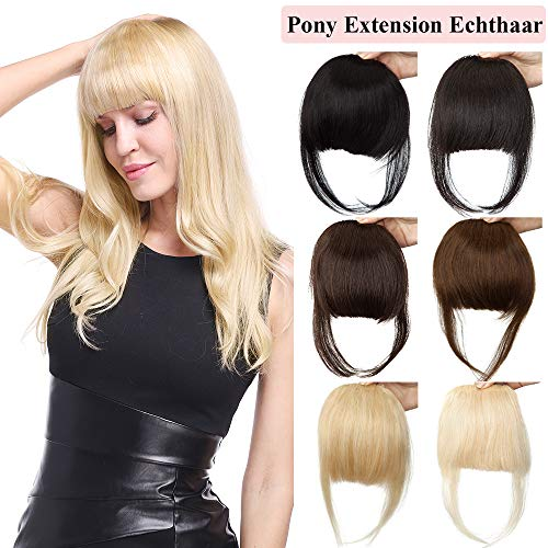 TESS Pony Haarteil Blond Clip in Extensions Echthaar Bang Haarverlängerung günstig Glatt mit 2 Clips Dicke Franse Haar 23g