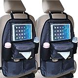 2x Auto Rückenlehnentasche DELUXE Rücksitztasche Spielzeugtasche (Mit Tablet-Fach)