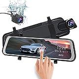 AWESAFE Rückspiegel Kamera Dual Autokamera 1080P 10' FHD Touchscreen 170° Weitwinkel mit Nachtsicht, Parkmodus, Bewegungserkennung,Loop-Aufnahme, G-Sensor