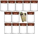 gouveo 12er Set 50 ml Glasdosen Vorratsdosen aus Borosilikatglas mit Korkverschluss, Vorratsgläser, Gewürzgläser (12, 50 ml)