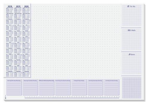Sigel HO355 Papier-Schreibunterlage mit 3-Jahres-Kalender und Wochenplan, 59,5 x 41 cm , 30 Blatt - weitere Designs