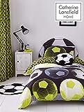 Catherine Lansfield Neon Fußball Reichhaltige Bettbezug-Set, Polyester-Verschiedene Farbe & Größe, gelb, Einzelbett