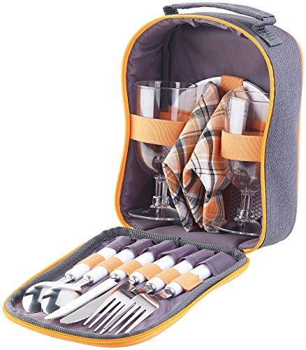 PEARL Camping Geschirrset: Picknick-Set für 2 Personen: Gläser, Servietten, Teller, Besteck (Picknick-Geschirre)