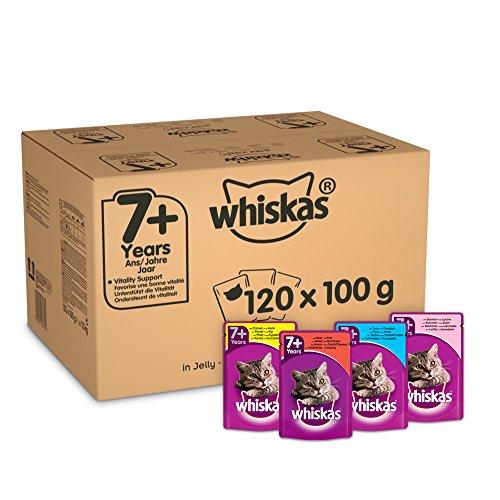WHISKAS 7+ Cat Beutel Gemischte Auswahl in Gelee, 120 x 100g Mega Pack