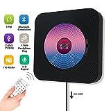 CD Player Bluetooth HiFi Lautsprecher Portable Home Audio Wandmontage FM Radio MP3 mit Wecker LED Display USB Eingang Fernbedienung 3,5mm Aux Kopfhörer Buchse Schwarz-Jimwey