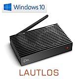 Mini PC - lautlose CSL Narrow Box Ultra HD Storage Line / 128GB M.2 SSD / Win 10 - Silent-PC mit Intel QuadCore CPU 2300MHz, 128GB M.2 SSD + 32GB SSD, 4GB DDR3-RAM, Intel HD, AC WLAN, USB 3.1, HDMI, SD, Bluetooth, Windows 10