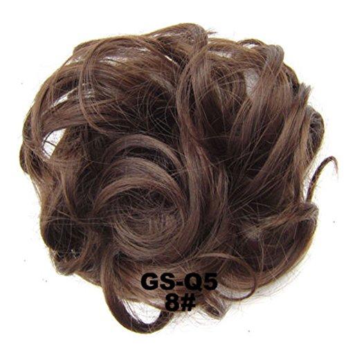 UxradG lockige unordentliche Haargummis, Haarknoten, Dutt, Haarverlängerung, natürliches lockiges gewelltes Haarteil für Damen, Haaraccesoire für Pferdeschwanz und Hochsteckfrisur