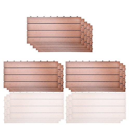 SIENOC 11 Stück/ca. 2m² WPC Terrassenfliesen |Terrassendielen 60x30 cm | WPC DIY Fliesen Holz Kunststoff Composite Outdoor Bodenbelag | Antikorrosion | Hellbraun
