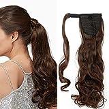 Ponytail Clip in Pferdeschwanz Extension Haarteil Haarverlängerung Zopf Hair Piece Glatt wie Echthaar Hellbraun & Aschblond Glatt-23'(58.5cm) 90g