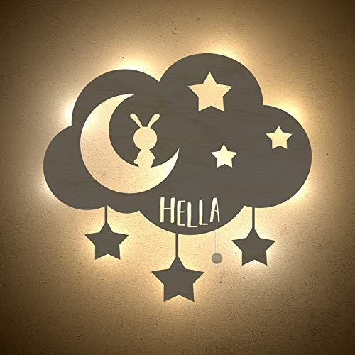 Nachtlicht Schlummerleuchte Wolke, Mond & Sterne Schlummer-Licht individuell mit Kinder-Namen konfigurierbar Farbe & Ausstattung anpassbar Original Design von hellomini
