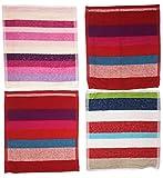 8 Stück Waschlappen 100% Baumwolle, 28 x 28cm, gestreift bunt