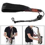 Solong Saxophon-Gurt, verstellbar, Halsband aus weichem PU-Leder, mit Haken, Schultergurt, Schwarz, für Saxophon