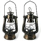 2er Set LED Sturmlaterne mit Batterie - Sturmlampe Elektrisch LED Öllampe Windlicht Windlaterne Windlicht für Camping von PK Green