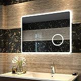 Duschdeluxe LED Spiegel Badspiegel Beleuchtung 80 x 60 x 3,5 cm Badezimmerspiegel Lichtspiegel Wandspiegel nergieeffizienzklasse A ++ mit Touch Schalter, IP44 Energiesparend, kaltweiß