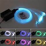 Milkee Glasfaser-LED-Licht, 16 W, RGBW, 450 Stück, 0,75 mm, 2 m, für Sternenhimmel + IR-Fernbedienung mit 28 Tasten