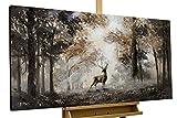 KunstLoft Acryl Gemälde 'Stag in The Brume' 120x60cm   original handgemalte Leinwand Bilder XXL   Tier Hirsch Natur Wald   Wandbild Acryl Bild Moderne Kunst einteilig mit Rahmen