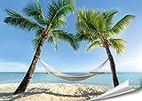 PMP 4life. XXL Poster Strand Hängematte zwischen Palmen HD 140cm x 100cm Hochauflösende Wanddekoration Natur Bild für Wandgestaltung Wandbild | Fotoposter Karibik Sonne Sommer Palmen |