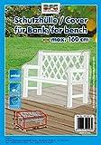 Reißfeste XXL Schutzhülle für eine 3er Gartenbank von MFG, transparent, 75x78x160 cm, in praktischer Tragetasche