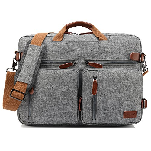 CoolBELL umwandelbar Rucksack Messenger Bag Umhängetasche Laptop Tasche Handtasche Business Aktentasche Multifunktions Reise Rucksack Passend für 17,3 Zoll Laptop / Männer / Frauen(Grau)