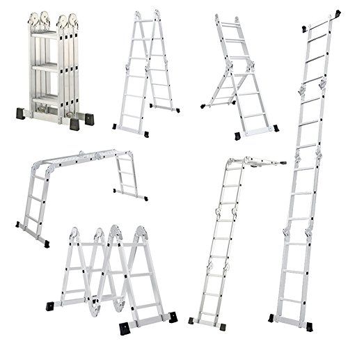 MCTECH 6 in 1 Anlegeleiter 340/ 470cm Mehrzweckleiter Aluminium Verstellbar Klappleiter Gelenkleiter Leiter Stehleiter Leitergerüst Arbeitsbühne (4X3 Stufen mit plattform)