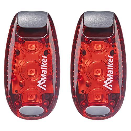 Malker LED Sicherheitslicht Set Sicherheit Licht Blinklicht für Nachtläufer Bergsteiger Kinder Kinderwagen Student Hunde mit Batterien Clip und Klettband Dauerlicht und Blinklicht 2er Pack Rot