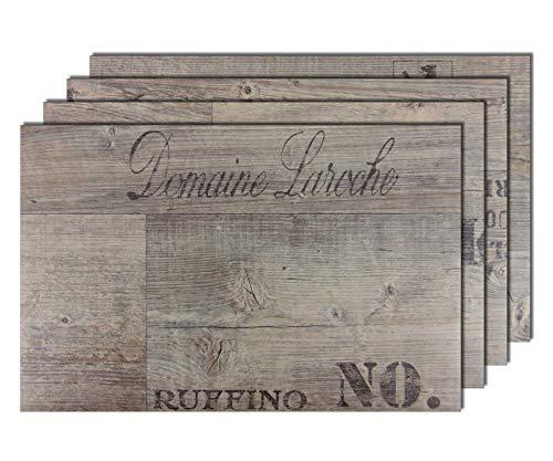 6er Premium Tischsets Holzoptik Weinkiste Grau-Braun | je ca. 43,5x28,5cm | je ca. 2,4mm | je ca. 180g | PVC-CV | rechteckig | abwaschbar | Gastro-Qualität | bazaaro