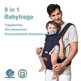 Babytrage Bauchtrage Ergonomisch für Säuglinge bis 15Kg, Kindertrage Rückentrage Hüfttrage für alle Jahreszeite träger (blau)