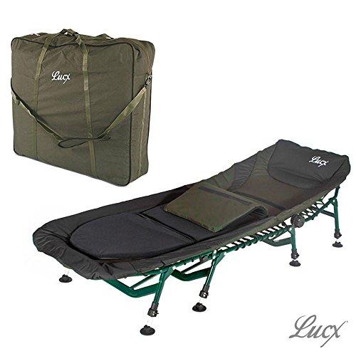 Lucx Set / 8 Bein Karpfenliege Komfort / Bedchair / Angelliege + Tragetasche / Transporttasche für Liege / Bedchair Bag 'XXL'