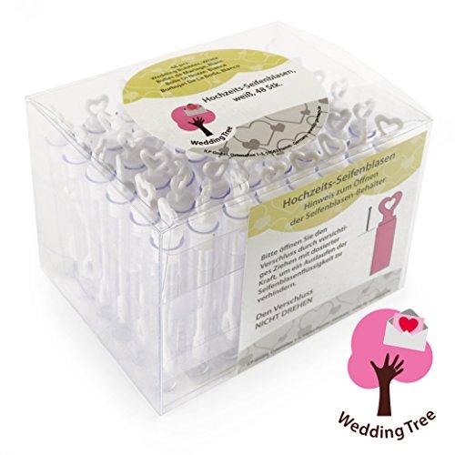 WeddingTree Premium Seifenblasen Set in weiß - 48 teilig mit Herzgriff - herzallerliebst für Hochzeit Taufe Geburtstag Goldene Hochzeit Verlobung Valentinstag Gastgeschenk Party