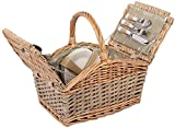 Picknickkorb für 4 Personen Weidenkorb inkl. praktischem Inhalt Messer Porzellan Teller Gläser Weide Korb