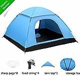 FITFIRST Automatisches wasserdichtes Zelt für 3-4 Familien Camping, leicht Pop-up, baut sich selbst auf,mit Netzstoff und Regenvordach, für Camping und den Außenbereich【Blau】