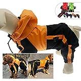 lovelonglong Hunde-Regenmantel mit Kapuze, für kleine Hunde, Regenjacke, Poncho, Wasserdichte Kleidung mit Kapuze, atmungsaktiv, 4 Füße, 4 Beine, Regenmantel für kleine, mittelgroße und große Hunde