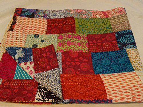Tribal asiatischen Textilien Multi Color Block Print Patchwork Queen Size Kantha Steppdecke, Kantha Decke, Bett, King Kantha Tagesdecke, Bohemian Betten Kantha Größe 228,6 x 274,3 cm 1111