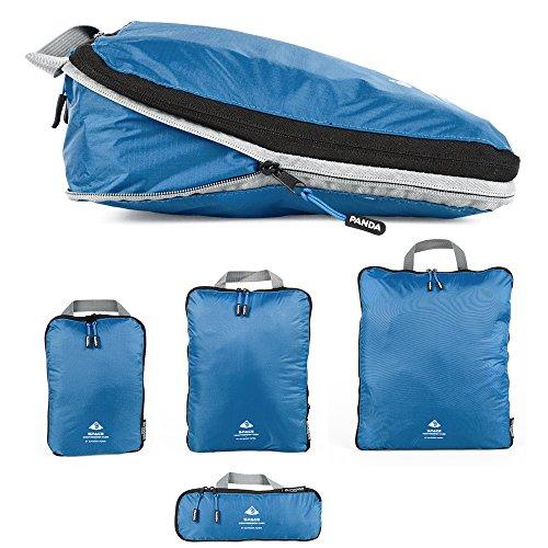 Outdoor Panda Packtaschen Set mit Kompression | Ultraleichte Packwürfel für Rucksack und Koffer | Wasserabweisende Compression Packing Cubes als Gepäck Organizer und Kleidertasche (Blau)