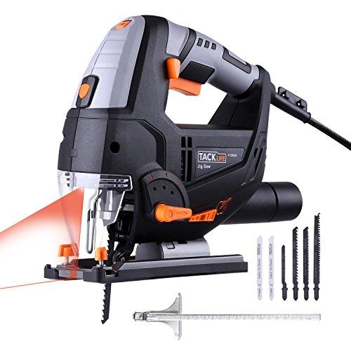 Stichsäge, Tacklife PJS02A Stichsäge mit Laser und Led-Lampe 800W,3000rpm, 100mm Schnitttiefen in Holz und 10mm in Metall, 22mm Hublänge,inkl.6 Sägeblatter